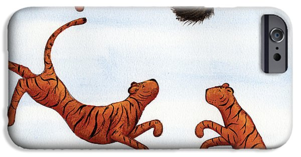 Studio Drawings iPhone Cases - Tigers on a Trampoline iPhone Case by Christy Beckwith