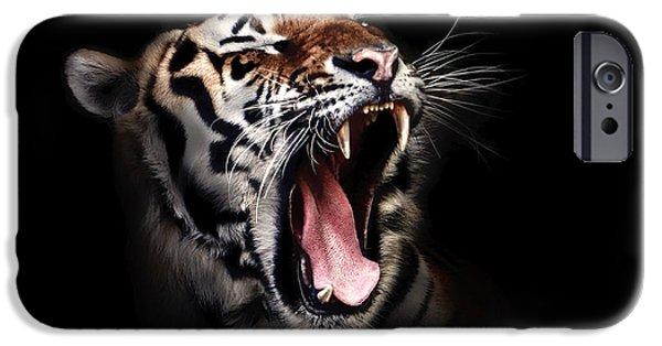 Growling iPhone Cases - Tigers Roar iPhone Case by Brigitte Werner