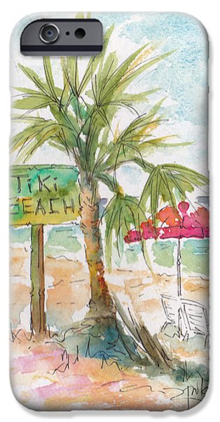 Raw Sienna iPhone Cases - Tiki Beach Grand Cayman iPhone Case by Pat Katz
