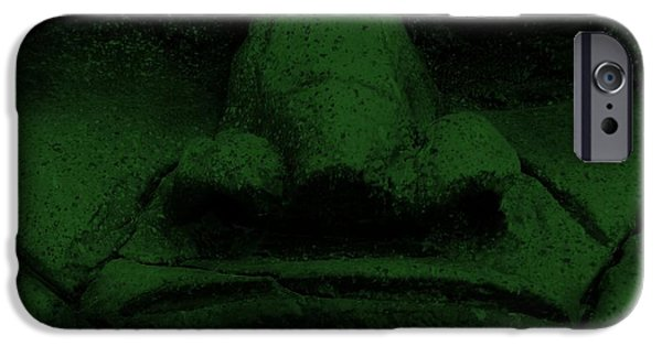 Statue Portrait iPhone Cases - Tiki Mask Olive iPhone Case by Rob Hans