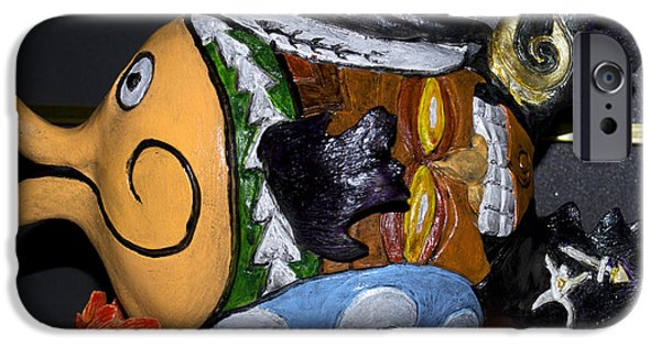 Beach Ceramics iPhone Cases - Tikifish iPhone Case by Suzette Kallen