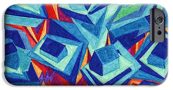 Abstract Expressionism iPhone Cases - Tile 21 - House of Card Stacked on a Mountain iPhone Case by Sean Corcoran