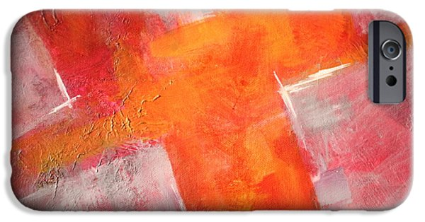 Tangerine Paintings iPhone Cases - Tilt iPhone Case by Nancy Merkle