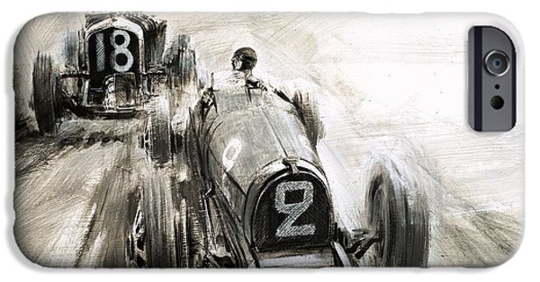 Transportation Drawings iPhone Cases - Tim Birkin driving at Brooklands iPhone Case by Graham Coton