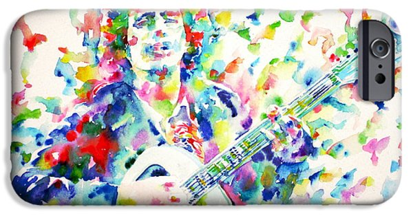 Tim Paintings iPhone Cases - TIM BUCKLEY playing - watercolor portrait iPhone Case by Fabrizio Cassetta