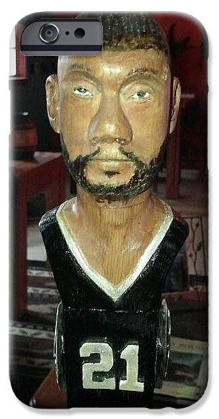 Sports Sculptures iPhone Cases - Tim Duncan front view iPhone Case by Michael Pasko