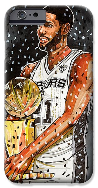 Dave Drawings iPhone Cases - Tim Duncan NBA Champion iPhone Case by Dave Olsen