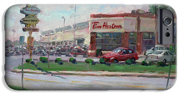 Tim Paintings iPhone Cases - Tim Hortons by Niagara Falls Blvd Where I have my Coffee iPhone Case by Ylli Haruni