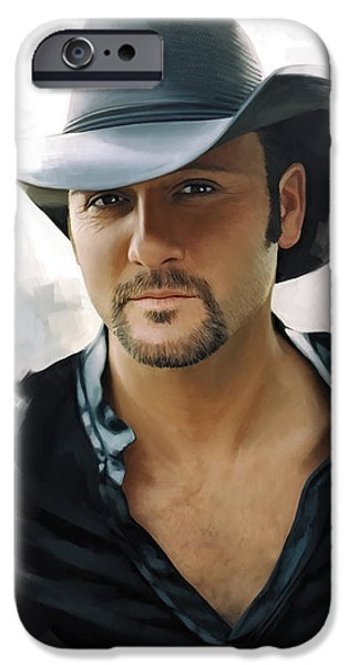 Singer Mixed Media iPhone Cases - Tim McGraw Artwork iPhone Case by Sheraz A