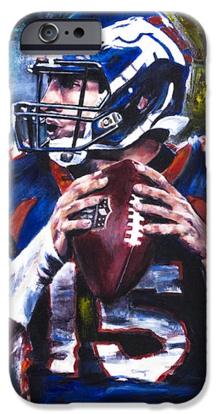 Tim Tebow Paintings iPhone Cases - Tim Tebow iPhone Case by Mark Courage
