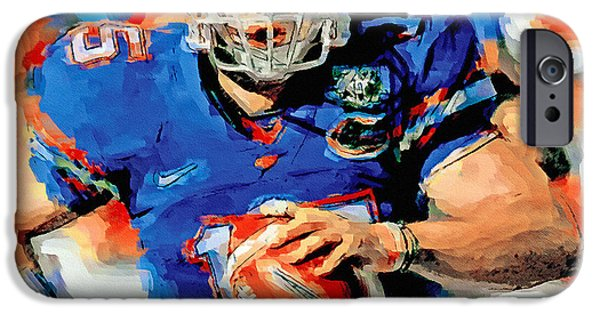 Tim Tebow Paintings iPhone Cases - Tim Tebow Mr. Florida Gator iPhone Case by John Farr