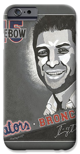 Tim Tebow Paintings iPhone Cases - Tim Tebow Portrait iPhone Case by Herb Strobino