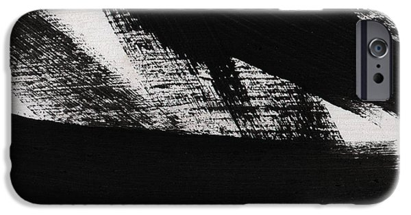Contemporary Abstract iPhone Cases - Timber 2- horizontal abstract black and white painting iPhone Case by Linda Woods