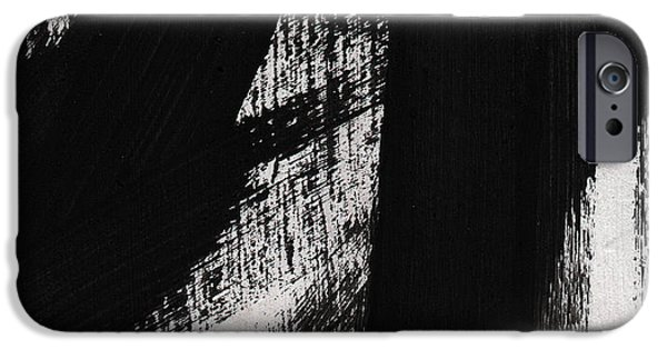 Abstract Lines iPhone Cases - Timber- vertical abstract black and white painting iPhone Case by Linda Woods