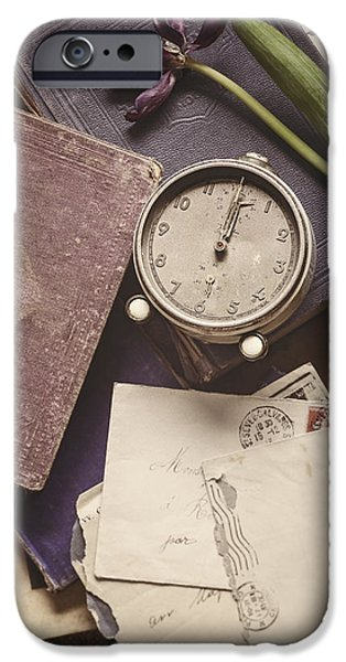 Clock iPhone Cases - Time and Treasures iPhone Case by Amy Weiss