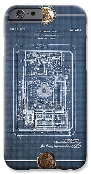 Mechanism iPhone Cases - Time Controlled Mechanism Vintage Patent Blueprint iPhone Case by Serge Averbukh