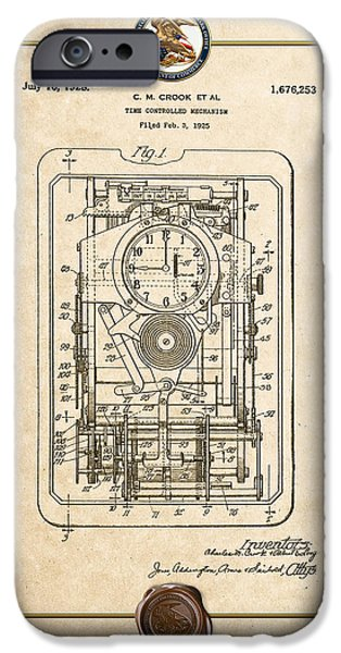 Mechanism iPhone Cases - Time Controlled Mechanism Vintage Patent Document iPhone Case by Serge Averbukh