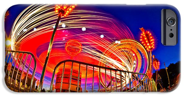 Enjoyment iPhone Cases - Time Exposure Of A Carnival Ride iPhone Case by Panoramic Images