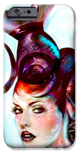 Recently Sold -  - Abstract Digital Mixed Media iPhone Cases - Sci Fi Fantasy Spirals in Time iPhone Case by Jaimy Mokos