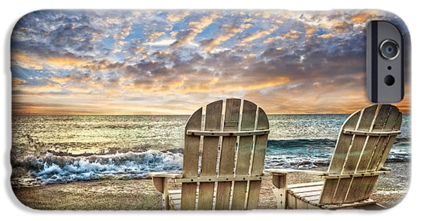 Adirondack Chairs On The Beach iPhone Cases - Time for Happy Hour iPhone Case by Debra and Dave Vanderlaan