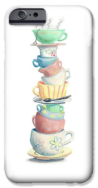 Tea Party Pastels iPhone Cases - Time For Tea iPhone Case by Athena Lutton