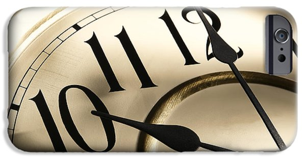 Clock iPhone Cases - Time Goes By iPhone Case by Olivier Le Queinec