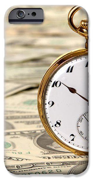 Time is over Money iPhone Case by Olivier Le Queinec