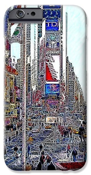 Time Square New York 20130503v5 iPhone Case by Wingsdomain Art and Photography