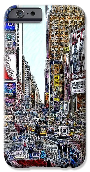 Time Square New York 20130503v8 square iPhone Case by Wingsdomain Art and Photography