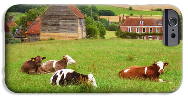 Rural Scenes Digital Art iPhone Cases - Time to Rest iPhone Case by Ayse Deniz