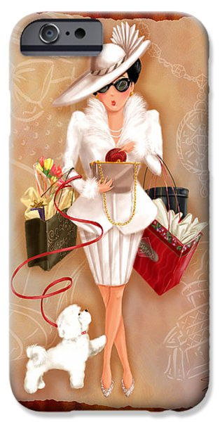 Lady Mixed Media iPhone Cases - Time to Shop 1 iPhone Case by Shari Warren