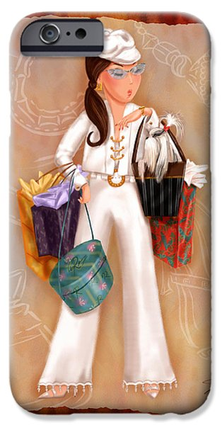Lady Mixed Media iPhone Cases - Time to Shop 3 iPhone Case by Shari Warren
