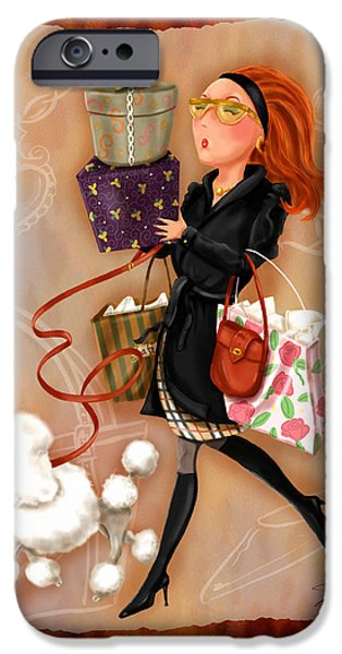 Lady Mixed Media iPhone Cases - Time to Shop 4 iPhone Case by Shari Warren