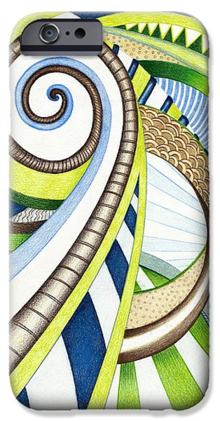 Green Surreal Geometry iPhone Cases - Time Travel iPhone Case by Shawna  Rowe