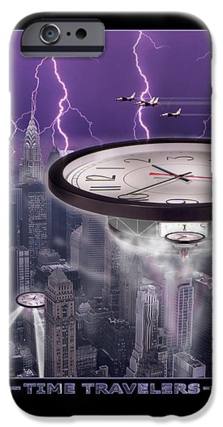 Lightning Digital Art iPhone Cases - TiME TRAVELERS 2 iPhone Case by Mike McGlothlen