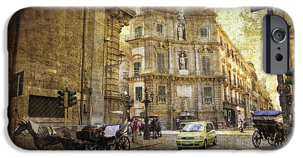 Horse And Buggy Photographs iPhone Cases - Time Traveling in Palermo - Sicily iPhone Case by Madeline Ellis