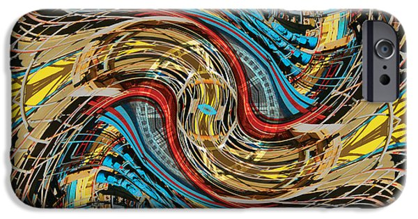 Splashy Digital Art iPhone Cases - Time Warp at the Chaos Factory iPhone Case by Bill Jonas