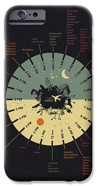 Time zone world clock iPhone Case by Budi Kwan