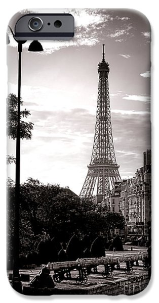 Paris iPhone Cases - Timeless Eiffel Tower iPhone Case by Olivier Le Queinec