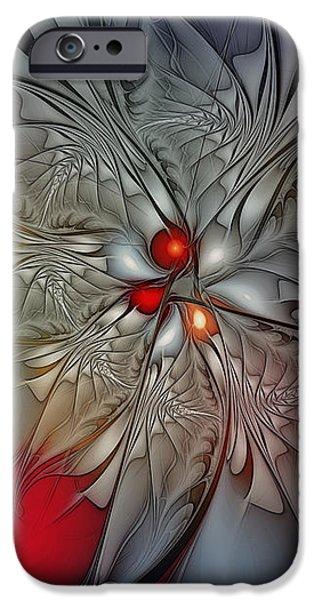 Timeless Elegance-Floral Fractal Design iPhone Case by Karin Kuhlmann