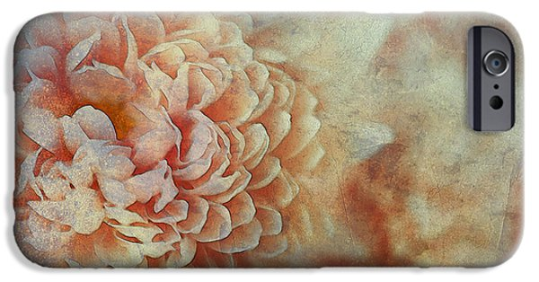 Timeless Design Paintings iPhone Cases - Timeless Pastel Peach Flower iPhone Case by Page One Tang