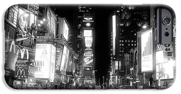 Monotone iPhone Cases - Times Square at Night iPhone Case by John Rizzuto
