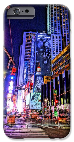 Buildings Mixed Media iPhone Cases - Times Square iPhone Case by Dan Sproul