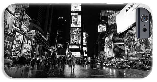 Times Square iPhone Cases - Times Square mono iPhone Case by John Farnan