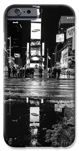 Times Square iPhone Cases - TImes square monochromatic  iPhone Case by John Farnan