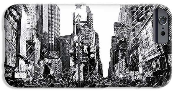 """square Art"" Drawings iPhone Cases - Times Square   New York City iPhone Case by Iconic Images Art Gallery David Pucciarelli"