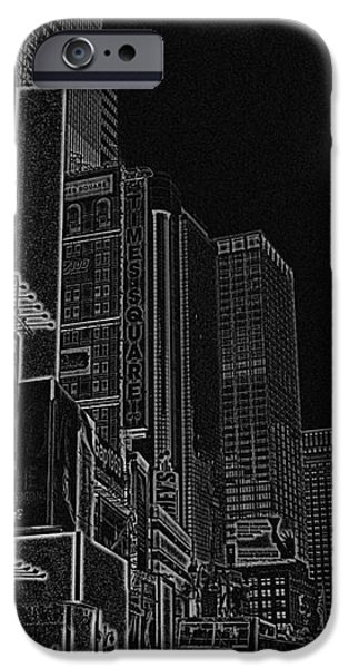 Times Square NYC white on black iPhone Case by Meandering Photography