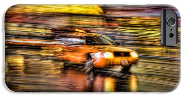 Nyc Rain iPhone Cases - Times Square Taxi I iPhone Case by Clarence Holmes