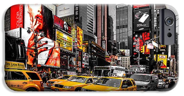 Times Square iPhone Cases - Times Square Taxis iPhone Case by Az Jackson