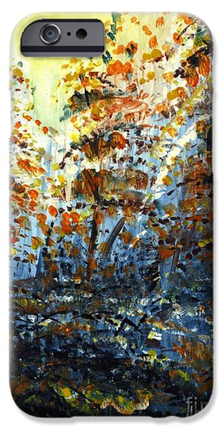 Autumn iPhone Cases - Tims Autumn Trees iPhone Case by Holly Carmichael